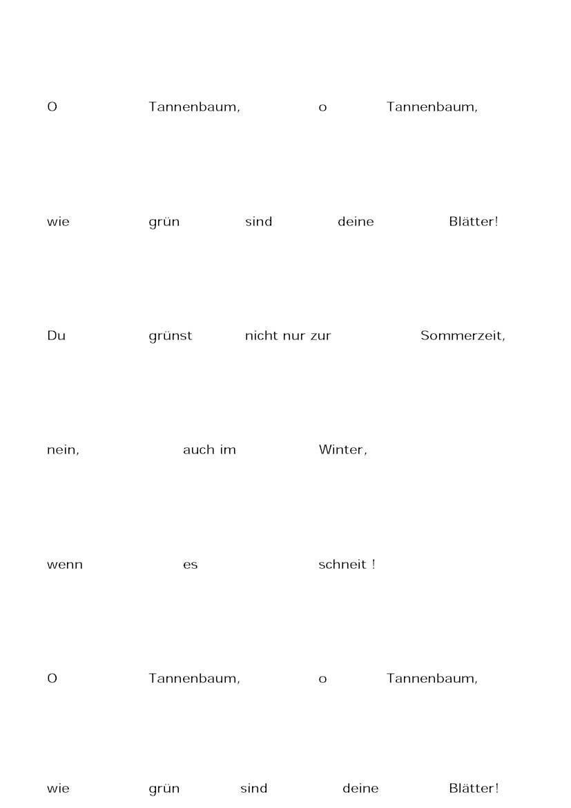 O Tannenbaum (Text zum Einkleben der Bilder – texto para pegar las imágenes)
