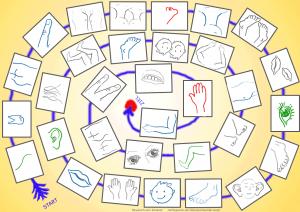 Der Körper (Sg.+Pl.) Das Wörterspiel, ein Brettspiel A4 von reflejarte.es/DeutschamStrand/