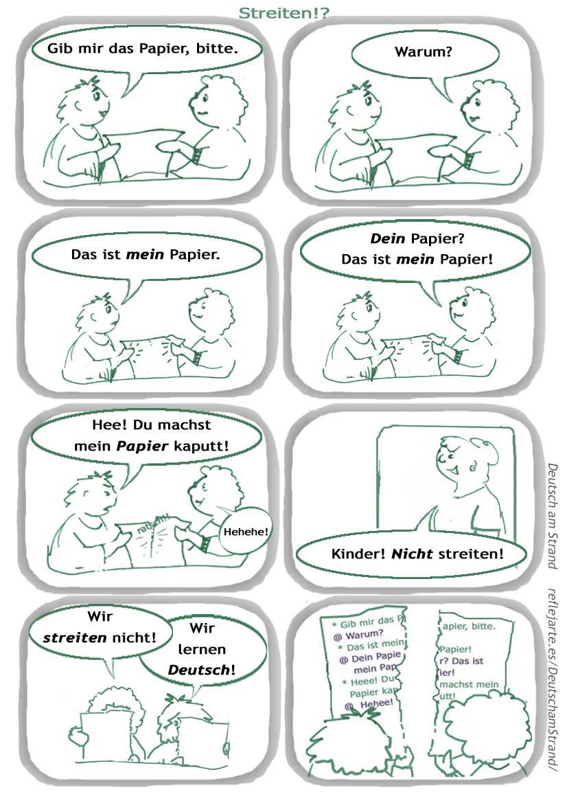 "DaF-COMIC ""Streiten!?"" mit Text · Intonationsübung Satzakzent"