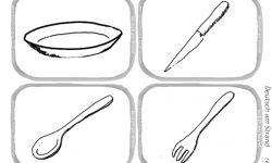 Essen,Trinken, Teller, Messer, Löffel , Gabel, Mund, Schnabel: Arbeitsblatt zum Ausmalen