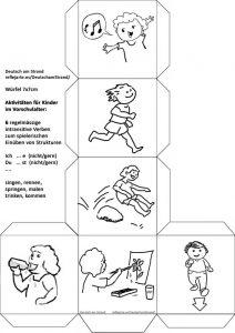 BILDERWÜRFEL (7x7cm): regelmässige, intransitive Verben zum spielerischen Einüben von Verbstrukturen für Vor- und Grundschulkinder