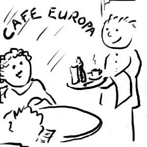 Kellner - Bestellung im Café Europa