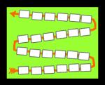 Spielplan Wörterspiel Zigzagform mit 24 Karten · reflejarte.es/DeutschamStrand/