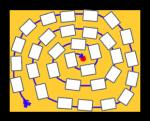 Spielplan Wörterspiel in Spiralform mit 32 Karten · reflejarte.es/DeutschamStrand/