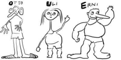 Otto, Uli und Erni beschreiben