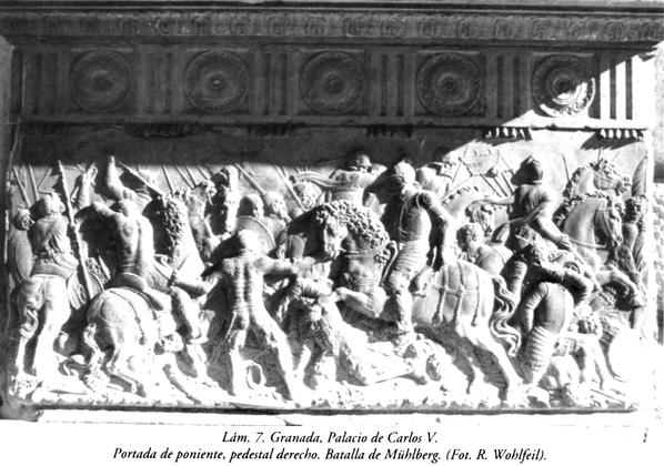 Lám. 7, Granada, Palacio de Carlos V: Portada de poniente, pedestal derecho. Batalla de Mühlberg