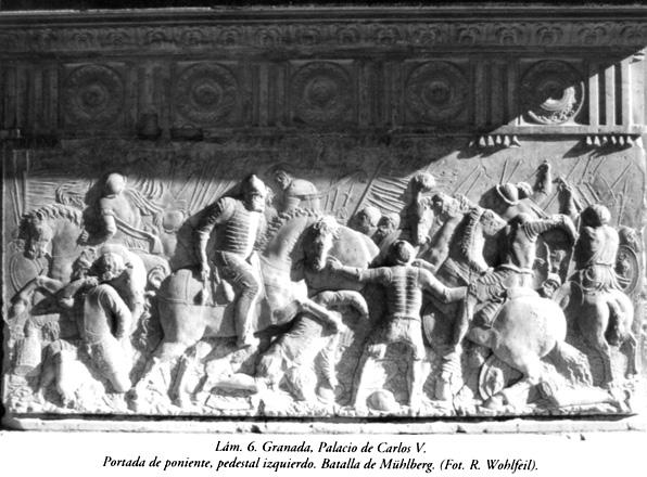 Lám. 6, Granada, Palacio de Carlos V: Portada de poniente, pedestal izquierdo. Batalla de Mühlberg