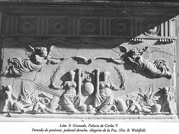Lám. 9, Granada, Palacio de Carlos V: Portada de poniente, pedestal derecho. Alegoría de la Paz.
