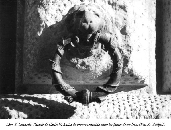 Lám. 3, Granada, Palacio de Carlos V: anilla de bronce