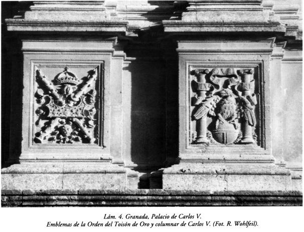 Lám. 4, Granada, Palacio de Carlos V: Emblemas de la Orden del Toisón de Oro y columnar de Carlos V