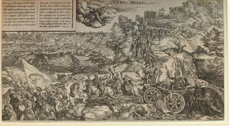 CURRUS BELLI, Stich von Hendrick Goltzius 1578