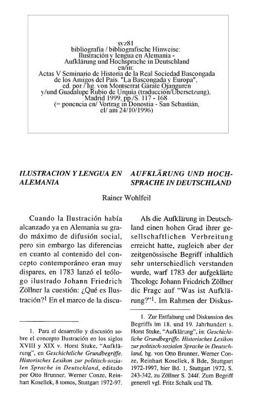 svz81 Rainer Wohlfeil: Ilustración y lengua en Alemania - Aufklärung und Hochsprache in Deutschland