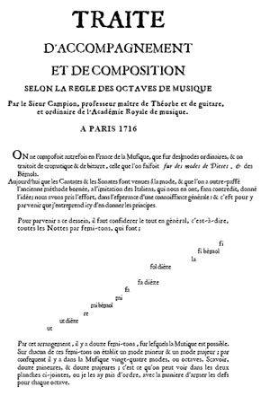 Nicolas Campion: Traité d'accompagnement et de composition selon la règle des octaves de musique, Paris, 1716