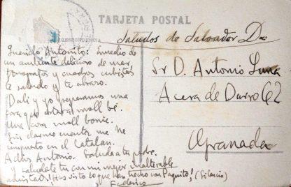 Postal de Lorca a Antonio de Luna