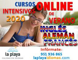 Cursos intensivos verano 2020 online LA PLAYA IDIOMAS: inglés, alemán, francés